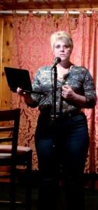 Carol Cizauskas reading poetry at open mic at Wildflower Village, Reno, Nevada. Thursday, 8 May 2014.
