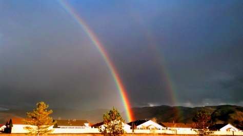 Double rainbow over south Reno - Friday, 16 November 2012