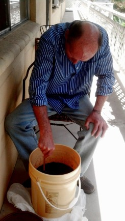 Don Prather making blueberry wine - Reno, Nevada - Sunday, 12 May 2013
