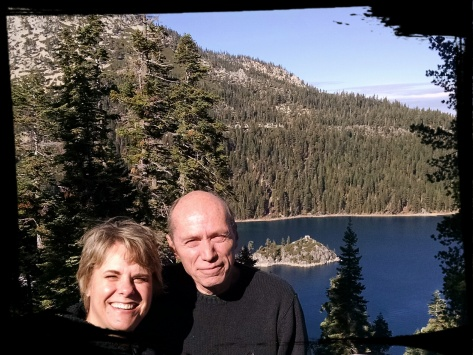 Carol Cizauskas and Don Prather celebrating their first anniversary at Emerald Bay, South Lake Tahoe, California, Saturday, 15 November 2014